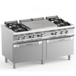 Kuchnia gazowa 2 x 2 palnikowa z centralną płytą grzewczą i dwoma piekarnikami gazowymi