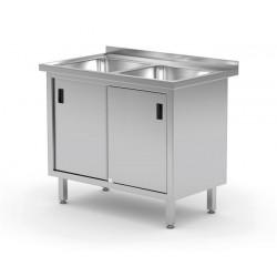 Stół z dwoma zlewami, szafka z drzwiami suwanymi, o wym. 1000x600x850 mm