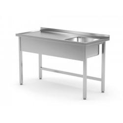 Stół ze zlewem bez półki - komora po lewej stronie - spawany, o wym. 1000x600x850 mm