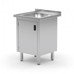 Stół ze zlewem, szafka z drzwiami na zawiasach, o wym. 500x700x850 mm