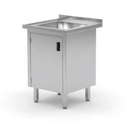 Stół ze zlewem, szafka z drzwiami na zawiasach, o wym. 600x700x850 mm