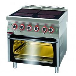 Kuchnia elektryczna ceramiczna z piekarnikiem elektrycznym GN 2/1 - MAR.700.KE-4C/PE-2* - Kromet