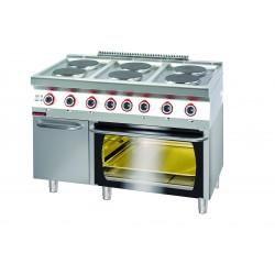 Kuchnia elektryczna z piekarnikiem elektrycznym GN 2/1 na szafce z drzwiami  - MAR.700.KE-6/PE-2/SD* - Kromet