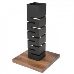 Stojak Tower ze stali matowej z bambusową podstawą