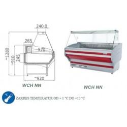 Witryna chłodnicza z szybą prostą - WCH NN - 1.5