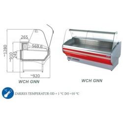 Witryna chłodnicza z szybą giętą - WCH GNN - 1.5