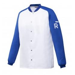 Vintage, bluza biało-niebieska, długi rękaw, XL