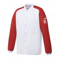 Vintage, bluza biało-czerwona, długi rękaw, XXXL