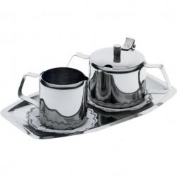 Zestaw stołowy do cukru i śmietanki - stalowy