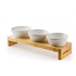 Stojak drewniany z miskami z melaminy