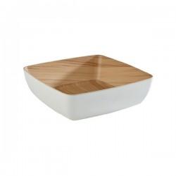FRIDA miska melaminowa biały+drewno 2.65L 25x25x7.5cm