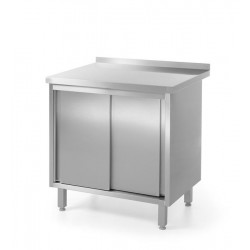 Stół przyścienny, z szafką z drzwiami suwanymi - spawany
